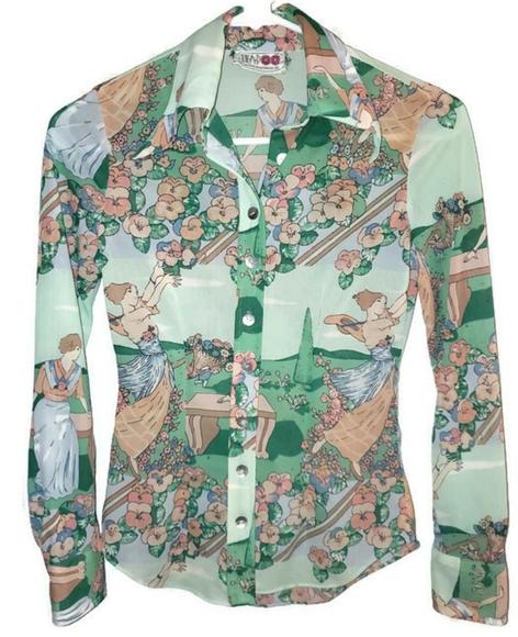 Gorgeous 70s open blouse size 10.